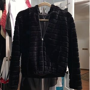 Jackets & Blazers - Black faux fur bomber jacket